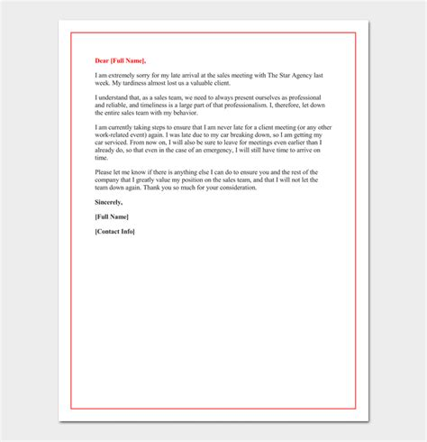 apology letter  coming late  office sample letter