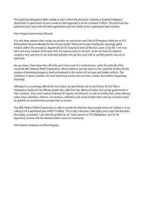 Medical Emergency Resignation Letter   Templates at allbusinesstemplates.com