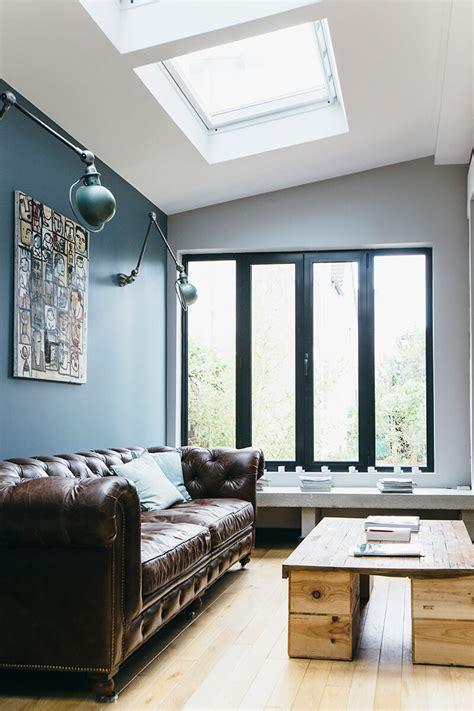 cuisine mur gris nuances de bleu style industriel frenchy fancy