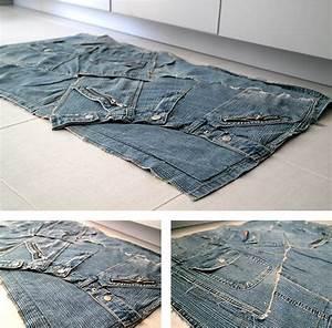 tendance up cycling realisation dun tapis en jeans With tapis en jean