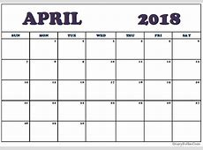 April 2018 Calendar Excel Template