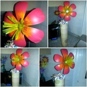 made this flower completely out of a plastic soda bottle ...