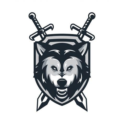 wolf animal sport mascot head logo vector vector premium
