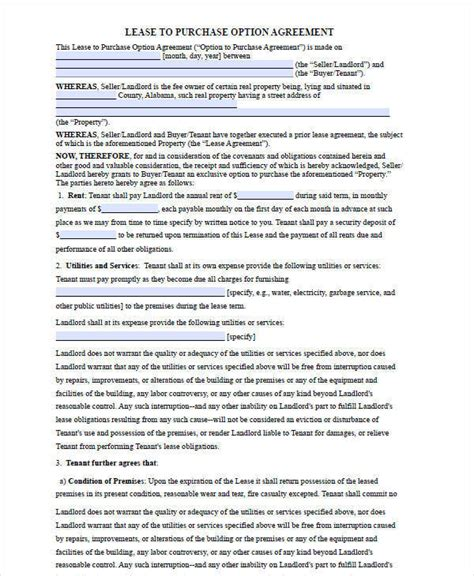 Rent To Buy Contract Template by 6 Rent To Own House Contract Forms Exles In Word