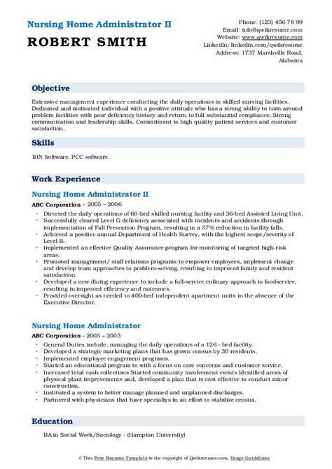nursing home administrator resume samples qwikresume