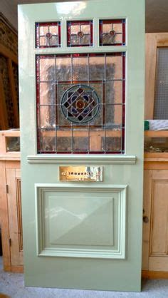 stained glass front entry door  side panels stained