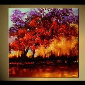 Painting - colorful blooming trees home decor forest #5786