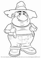 Farmer Draw Barnyard Drawing Step Cartoon Learn Getdrawings sketch template