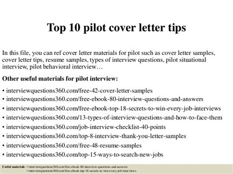 top 10 pilot cover letter tips