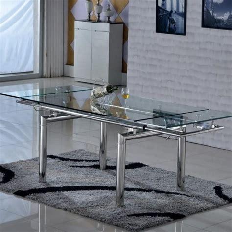 table a manger en verre trempe table en verre extensible inox santos achat vente table a manger seule table en verre