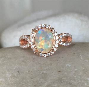 natural opal engagement ring rose gold opal ring promise With opal wedding rings rose gold