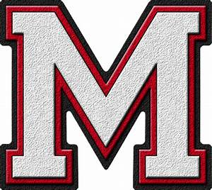 presentation alphabets white cardinal red varsity letter m With varsity letter m