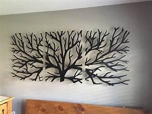 metal wall art decor 3d sculpture 3 piece tree brunch modern With art wall decor