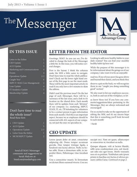 enewsletter template design like the curved header and toc down the side business