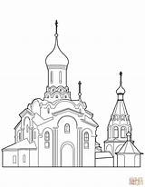 Coloring Orthodox Cathedral Pages Drawing Church Building Printable Buildings Dot Domain sketch template