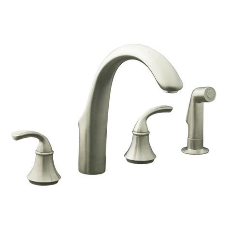 brushed nickel faucets kitchen shop kohler forte vibrant brushed nickel 2 handle high arc