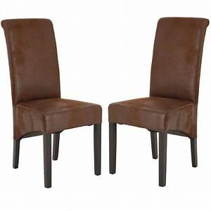 chaise de salle a manger en microfibre coloris marron zia With salle À manger contemporaineavec chaises cuir marron salle manger