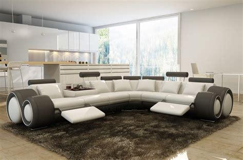 canap 233 d angle en cuir italien 7 places excelia blanc et gris fonc 233 2 poufs offerts mobilier