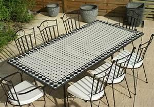 Table Mosaique Jardin : table jardin mosaique rectangle 200cm c ramique blanche et ses losanges en ardoise table ~ Teatrodelosmanantiales.com Idées de Décoration