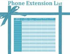 phone extension list template by formsword With telephone extension template