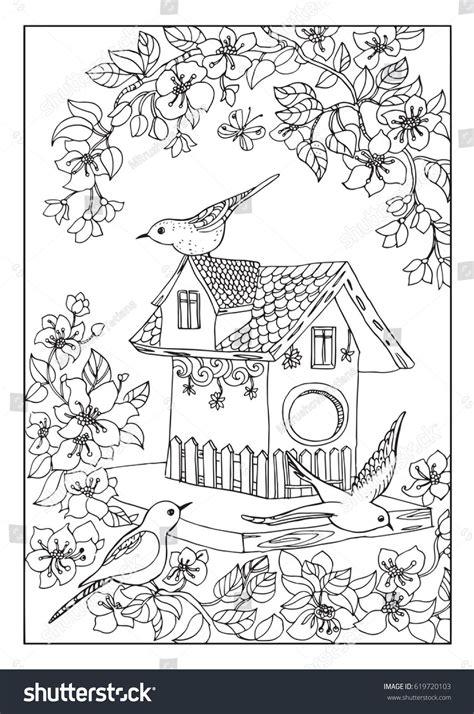 birds house coloring page kifesto