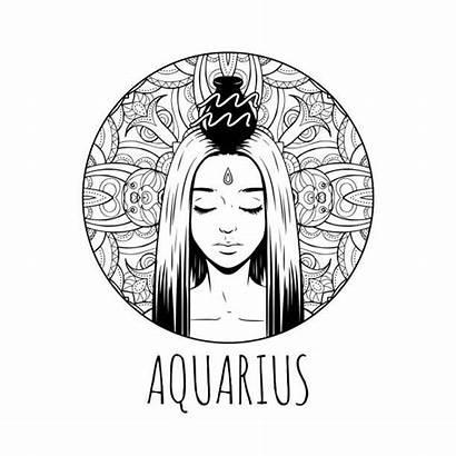 Zodiac Coloring Aquarius Printable Horoscope Signs Symbol