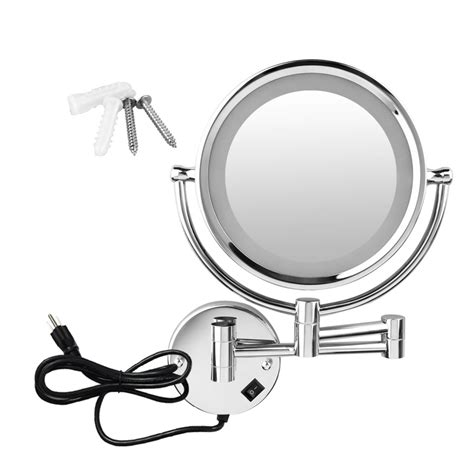 Sided Bathroom Mirror by Wall Mount Led 10x Magnifying Compact Cosmetic Makeup