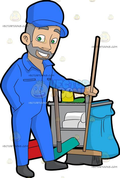 watermark floor a confident janitor holding a broom vector clip