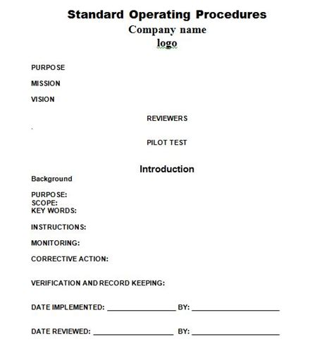 Work Procedures Template by 37 Best Standard Operating Procedure Sop Templates