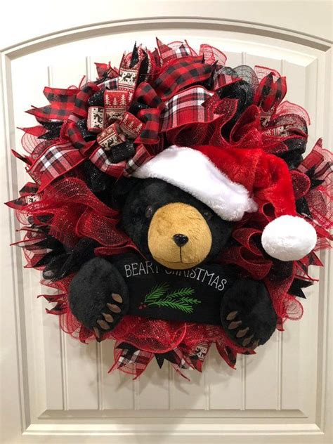 black bear christmas wreath beary christmas decor kats