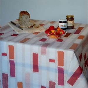 Nappe Ovale Enduite : nappe enduite rayure patch orange ~ Teatrodelosmanantiales.com Idées de Décoration
