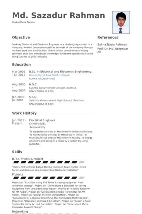 Electrical Engineer Resume Samples  Visualcv Resume