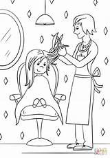 Hairdresser Coloring Pages Printable Sheets Community Drawing Helpers sketch template