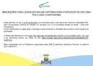 Inscrições para licenciatura em História para portador de ...