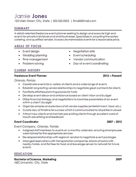 Resume Creation Form by Event Coordinator Resume Exles Resume Exles