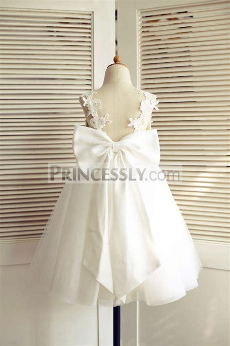 ivory lace tulle   wedding flower girl dress  big bow