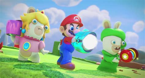 the trailer for mario rabbids kingdom battle shows mario with gun fatherly