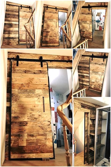 wood pallets wall art  sliding door  bathroom wood