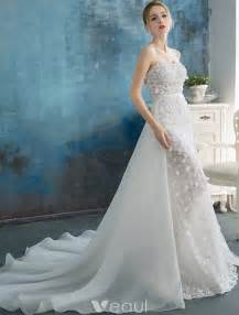 wedding gowns with detachable trains stunning wedding dresses 2016 mermaid strapless applique lace flowers detachable