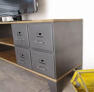 Meuble à Tiroir : meuble tv industriel 8 tiroirs m talliques authentiques ~ Melissatoandfro.com Idées de Décoration