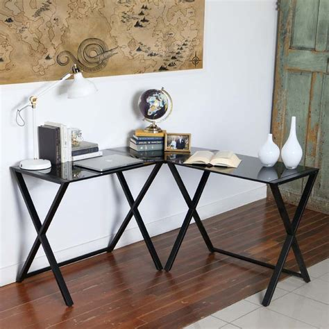 Glass And Metal Corner Computer Desk Black by Walker Edison X Frame Black Glass And Steel Corner