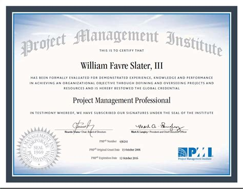 Pmp Logo On Resume by William F Slater Iii Professional Certifications