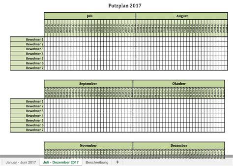 Putzen Plan by Putzplan F 252 R 2017 Mit Excel Vorlagen Und Pdf Excel