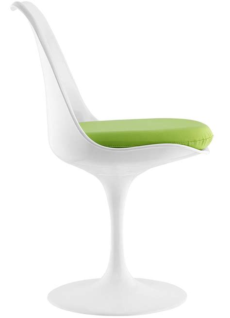 saarinen style tulip chair with leatherette cushion 7