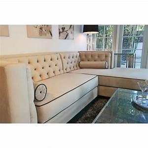Decenni custom furniture 39tobias39 light dove grey tufted for Dove grey sectional sofa