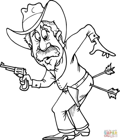 Cowboy Kleurplaat by Cowboy With Two Arrows In Coloring Page Free