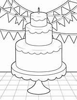 Coloring Birthday Cake Thursday Spinsterhooddiaries sketch template