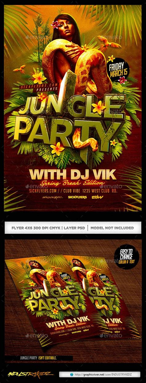tropical wild templat jungle party flyer earth day luau party and africa