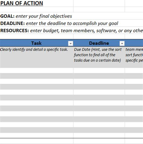action plan template  excel business templates