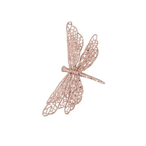 glitter sparkle rose gold dragonfly clip christmas